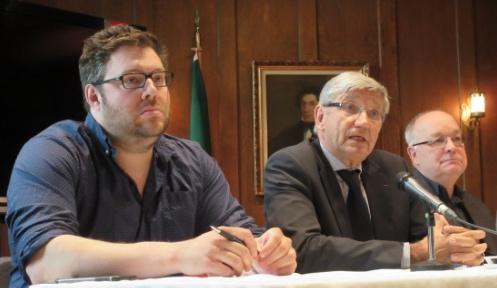 De g.à d. Mathieu Bock-Côté, Denis Monière et Claude Cardinal