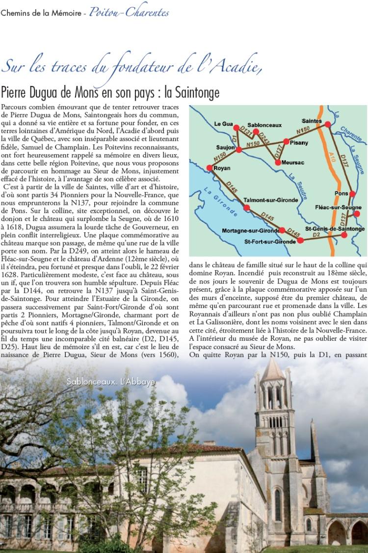Chemins de la Mémoire - Poitou-Charentes, Sur les traces du fondateur de l'Acadie, Pierre Dugua de Mons en son pays : la Saintonge.
