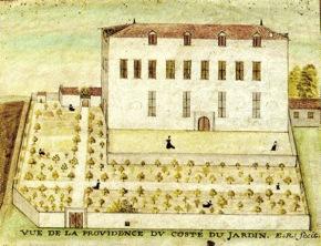 (dessin original XVIIe siècle, Archives de l'Évêché de La Rochelle) « La Providence », lieu de mémoire du premier départ de1663.