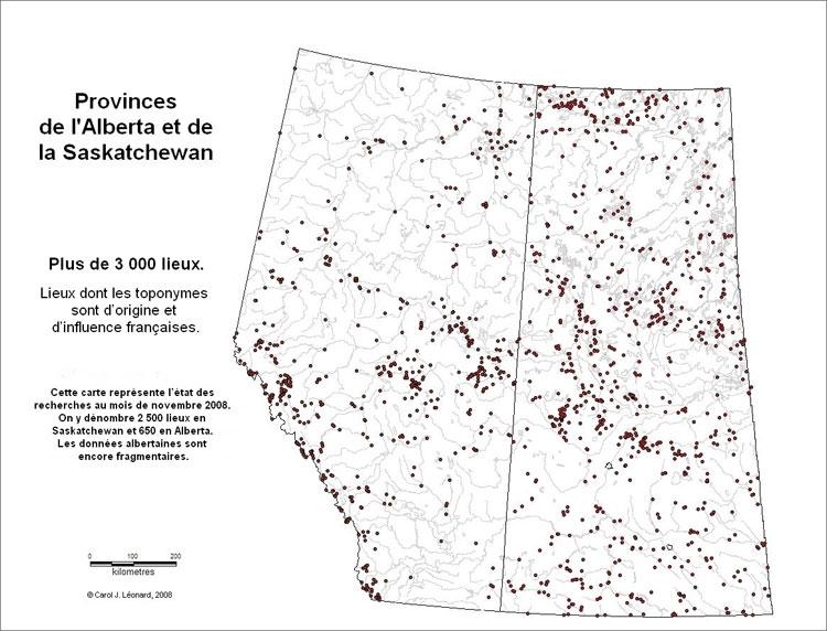Lieux en Alberta et en Saskatchewan ou les toponymes sont d'orignies et d'influence françaises