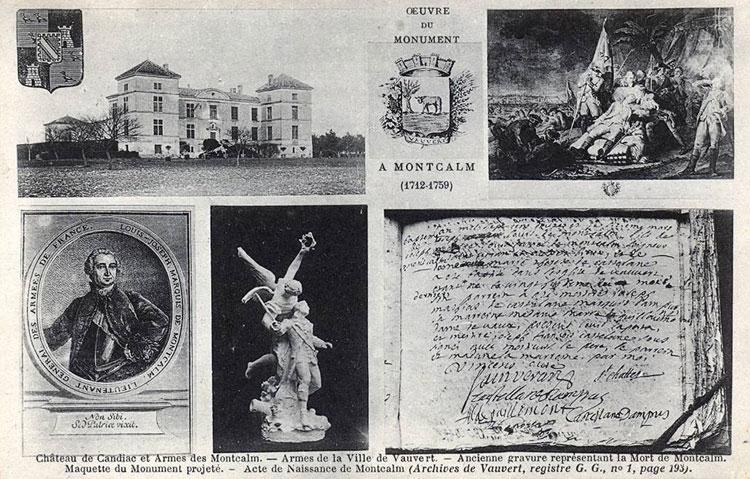 Carte postale - oeuvre du monument à Montcalm