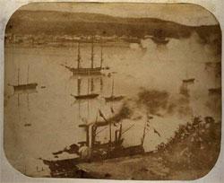 La Capricieuse à son départ du port de Québec, le 27 aout 1855