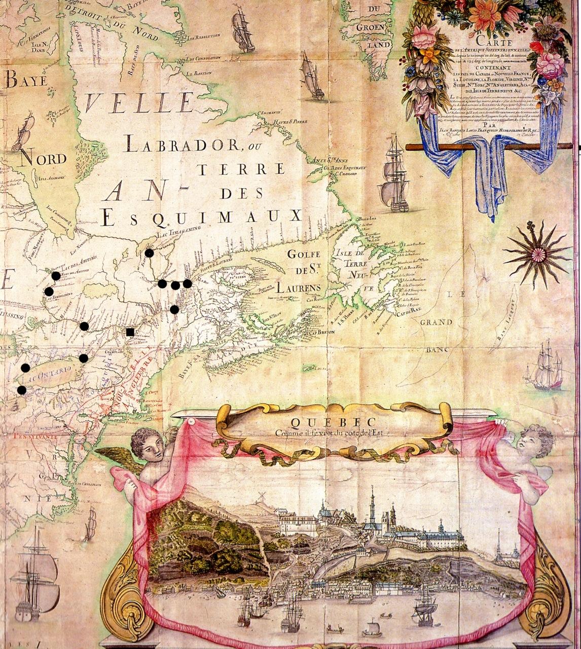 Carte De LAmrique Septentrionale Gros Plan Qubec Franquelin Bibl Du