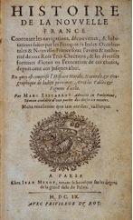 Photo de la page de titre de l'Histoire de la Nouvelle-France de Marc Lescarbot.