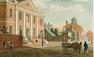 Image de la Library Company of Philadelphia aux alentours de 1790, fondée par Benjamin Franklin.