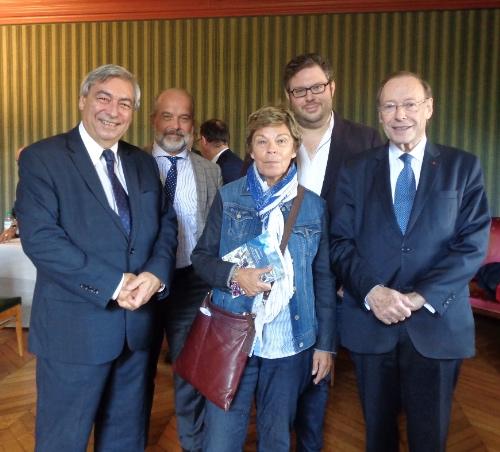 De g. à d. Denis Racine, Éric Bédard, Louise Beaudoin, Mathieu Bock-Côté et Pierre-André Wiltzer