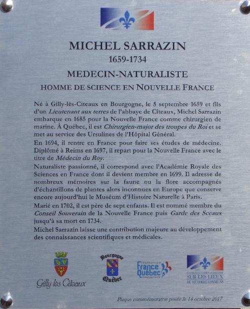 Plaque commémorative Michel Sarrazin (1659-1734)